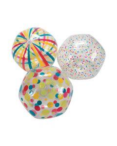 Inflatable Clear Pattern Beach Ball Assortment