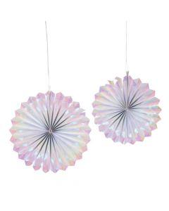 Iridescent Hanging Paper Fans