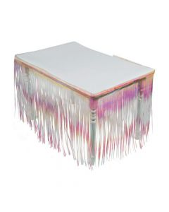 Iridescent Plastic Fringe Table Skirt