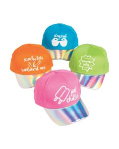 Iridescent Summer Sayings Baseball Caps