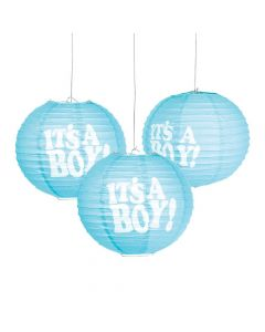 It's a Boy Hanging Paper Lanterns