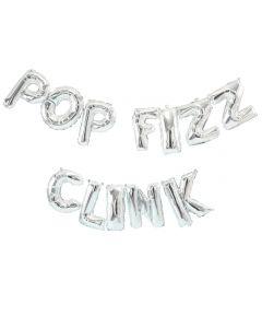 Jolly Good Vibes Pop Fizz Clink  Balloon Bunting Silver