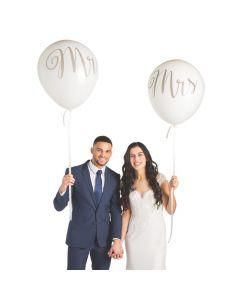"""Jumbo White Mr. and Mrs. 36"""" Latex Balloons"""