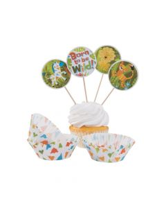 Jungle Baby Cupcake Wrappers with Picks