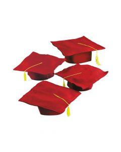 Kids' Red Graduation Felt Mortarboard Hats