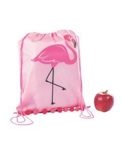 Large Flamingo Drawstring Bags with Pom Fringe