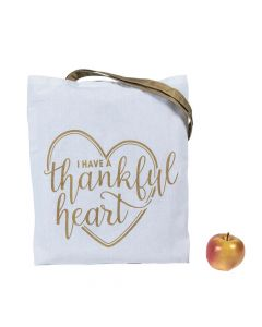 Large I Have a Thankful Heart Tote Bags