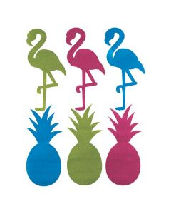 Large Luau Glitter Pineapple Flamingo Cutouts