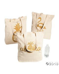 Large Pineapple Canvas Tote Bags