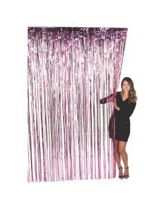 Large Pink Foil Fringe Door Curtain
