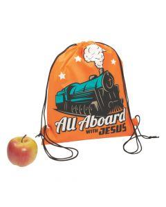 Large Railroad VBS Drawstring Bags