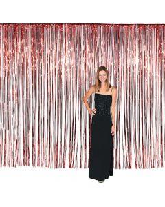 Large Red Foil Fringe Door Curtain
