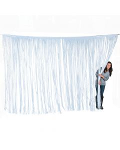 Large White Foil Fringe Door Curtain