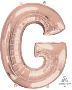 Letter G Rose Gold Supershape Foil Balloon