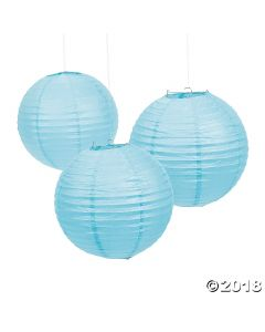Light Blue Hanging Paper Lanterns
