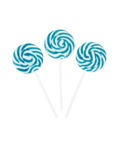 Light Blue Swirl Lollipops