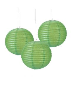 Lime Green Glitter Hanging Paper Lanterns