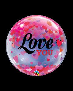 Love U Confetti Hearts 56cm Bubble Balloon