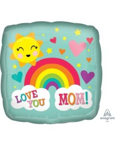 Love You Mom Rainbow Square Foil Balloon