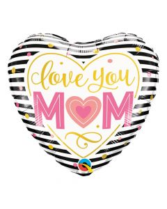 Love You Mom Striped Heart Balloon