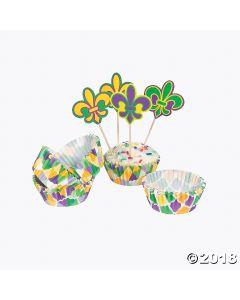Mardi Gras Cupcake Liners with Picks