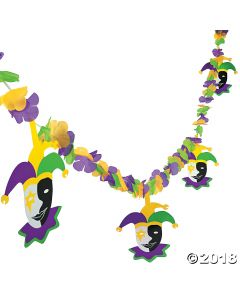 Mardi Gras Flower Garland with Jester Cutouts