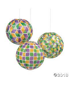 Mardi Gras Hanging Paper Lanterns