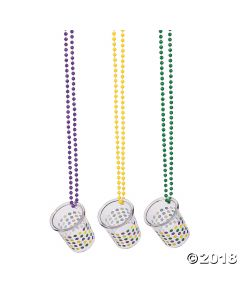 Mardi Gras Plastic Shot Glass Beaded Necklaces
