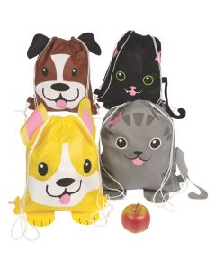 Medium Cat and Dog Drawstring Bags
