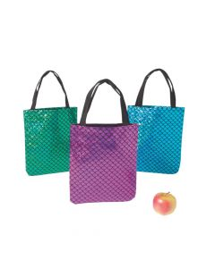 Medium Iridescent Mermaid Scale Tote Bags