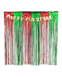 Merry Christmas Metallic Fringe Backdrop with Garland