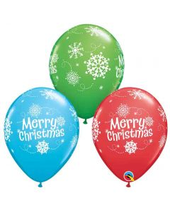 Merry Christmas Snowflakes Latex Balloons