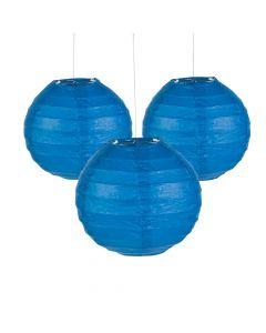 Mini Blue Hanging Paper Lanterns