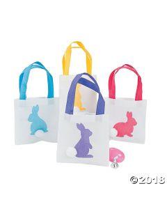Mini Easter Bunny Silhouette Tote Bags