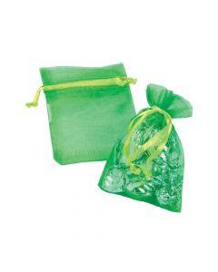 Mini Lime Green Organza Bags