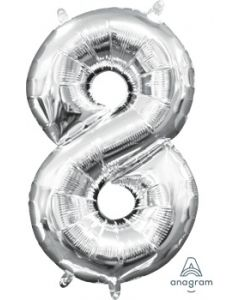 Mini Number 8 Silver Foil Balloon