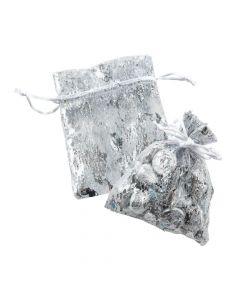 Mini Silver Metallic Organza Drawstring Bags