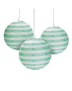 Mint Green Striped Hanging Paper Lanterns