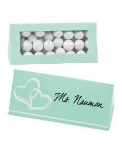 Mint Green Wedding Place Card Favor Boxes