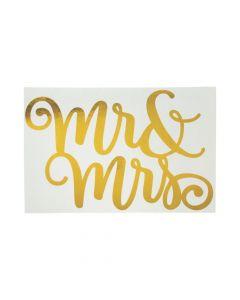 Mr. and Mrs. Gold Foil Backdrop Sign