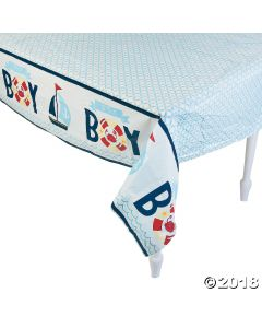 Nautical Baby Shower Plastic Tablecloth