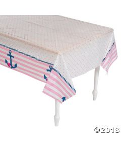 Nautical Girl Plastic Tablecloth