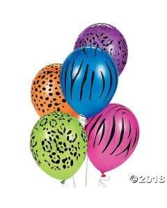 Neon Animal Print Latex Balloons