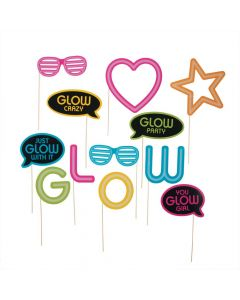 Neon Glow Party Photo Stick Props