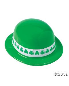 Neon Green Shamrock Band Derby Hats