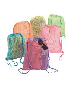 Neon Net Drawstring Backpacks