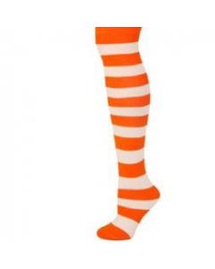 Neon Orange and White Striped Socks