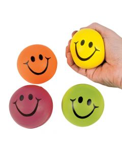 Neon Smile Face Stress Balls