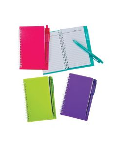 Neon Spiral Notebook and Pen Sets
