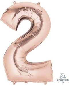 Number 2 Rose Gold Supershape Foil Balloon